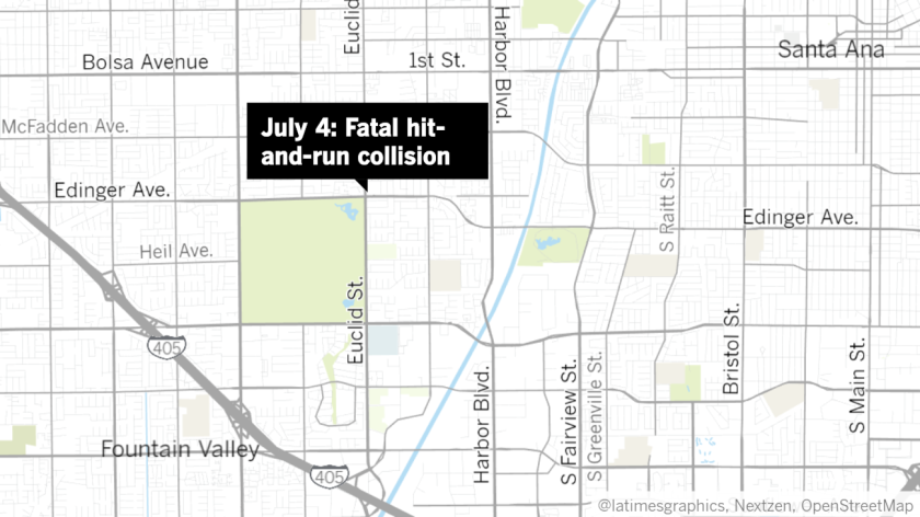 Fountain Valley police say a vehicle hit a pedestrian on Euclid Street Saturday night.