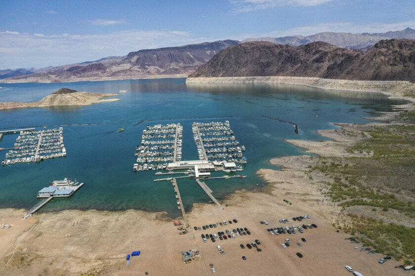 An aerial view of drought's effect at Hemenway Harbor