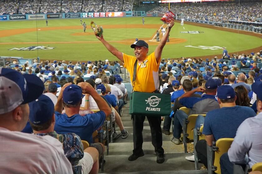 LOS ANGELES - OCTOBER 6, 2017: Robert E. Sanchez, who has been working at Dodger Stadium since 1974,