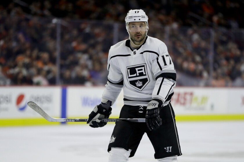 Kings left wing Ilya Kovalchuk looks on during a game against the Flyers on Feb. 7.