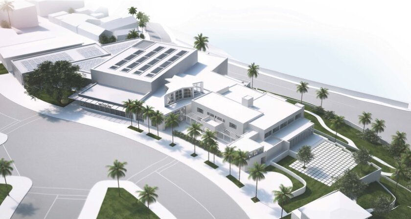 Aerial rendering of the Museum of Contemporary Art San Diego's planned La Jolla expansion, as seen from Prospect Street.