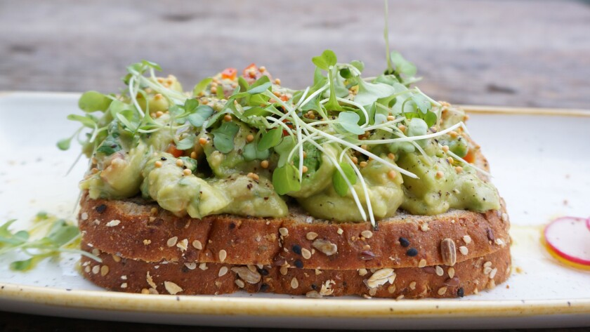 Smashed avocado toast from the Butcher's Daughter, now open on Abbot Kinney Boulevard in Venice.