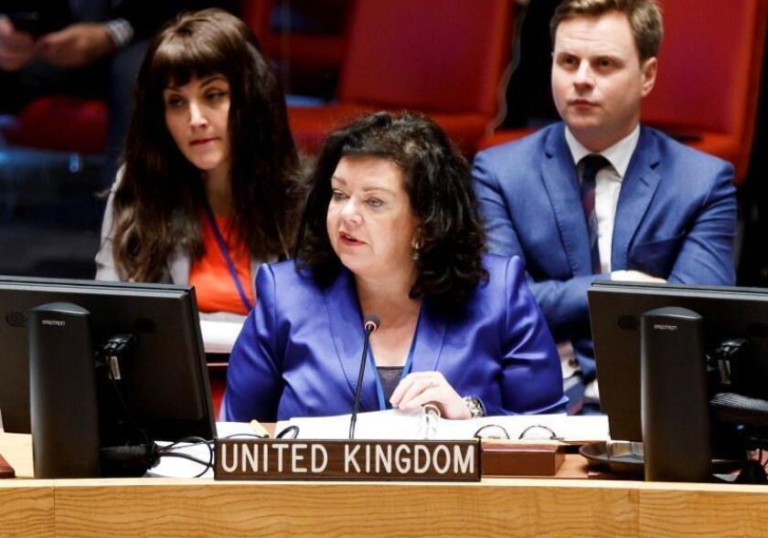 La representante permanente del Reino Unido ante la ONU, Karen Pierce, participa en un Consejo de Seguridad de la ONU en la sede del organismo en Nueva York (Estados Unidos), el 15 de mayo del 2018. EFE/ Justin Lane/Archivo