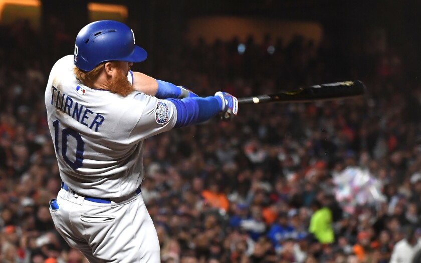 SAN FRANCISCO, SEPTEMBER 28, 2018-Dodgers Justin Turner hits a two-run home run against the Giants i