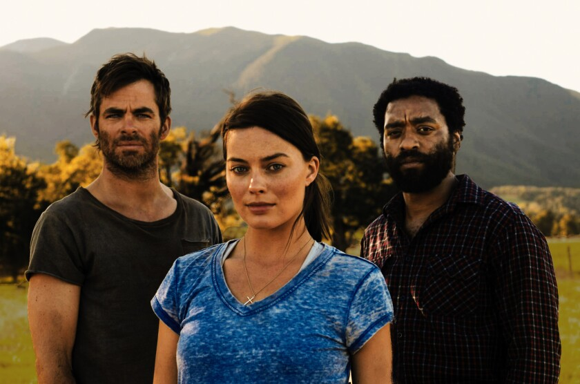"Chris Pine, left, Margot Robbie and Chiwetel Ejiofor in ""Z for Zachariah."""