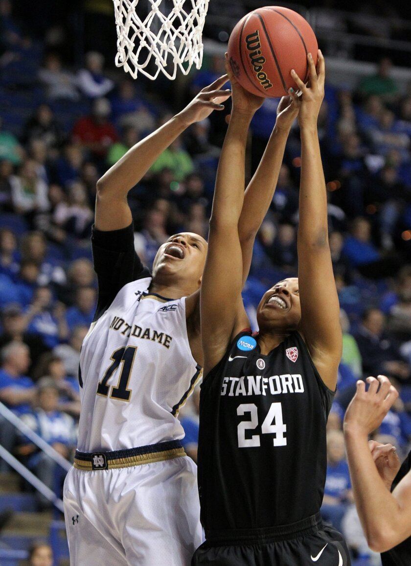 Notre Dame's Brianna Turner (11) and Stanford's Erica McCall (24) battle for a rebound during a third round women's college basketball game in the NCAA Tournament in Lexington, Ky., Friday, March 25, 2016. (AP Photo/James Crisp)