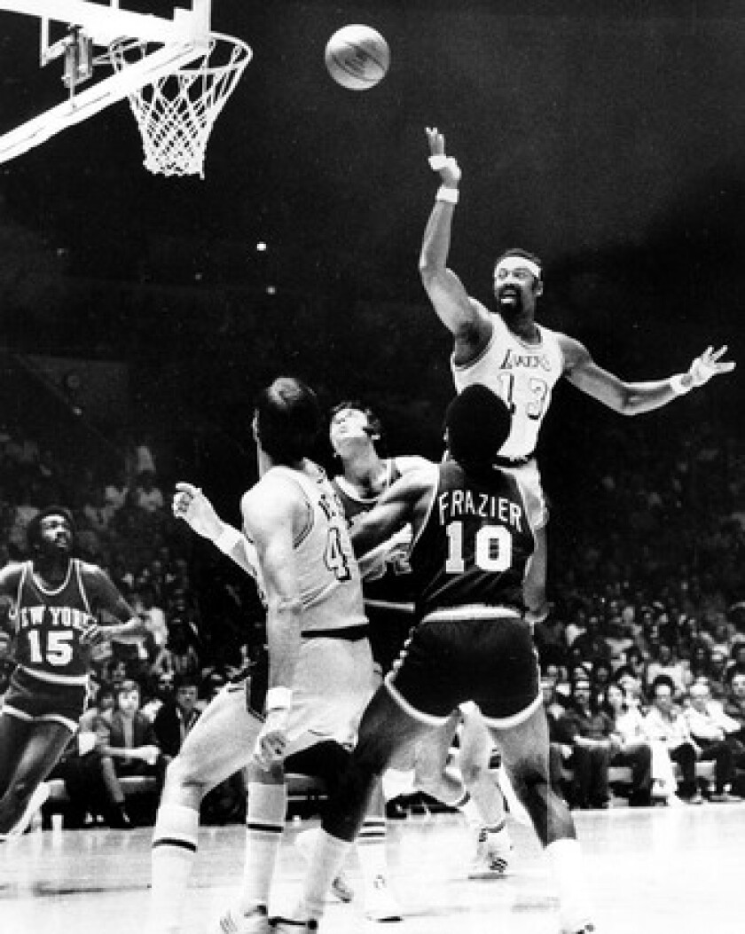 Wilt Chamberlain puts in a finger roll during the Lakers' first title season in L.A. in 1972.