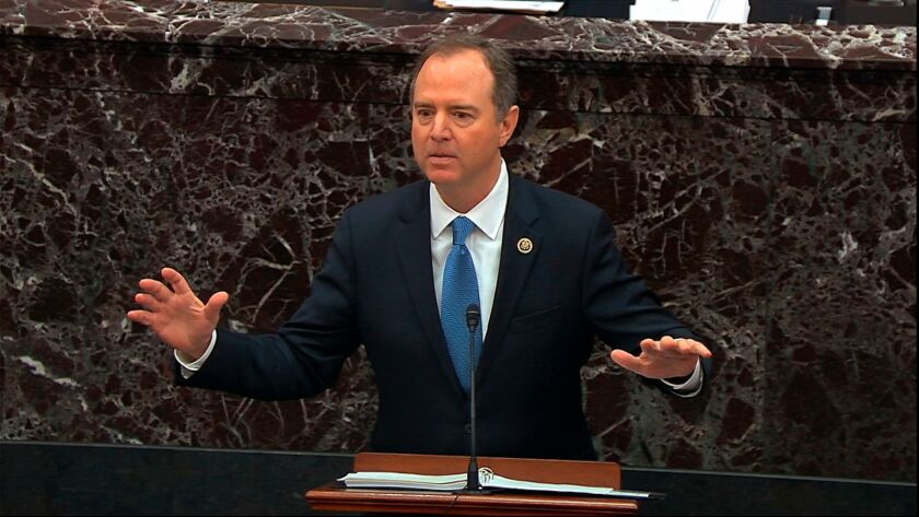 Adam Schiff speaks during the impeachment trial