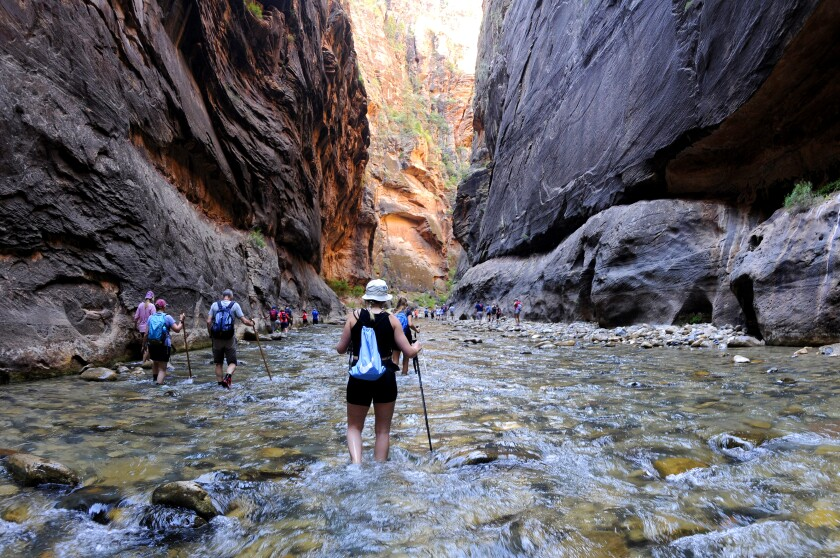 Hikers wade through water with sheer rock walls on either side.