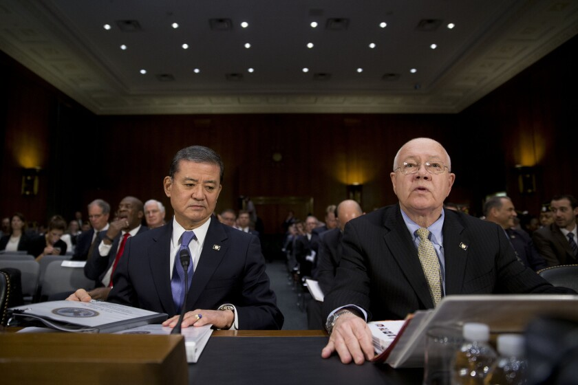 Veterans Affairs Secretary Eric Shinseki and Robert Petzel, undersecretary for health, appear at a hearing of the Senate Veterans Affairs Committee on Thursday.