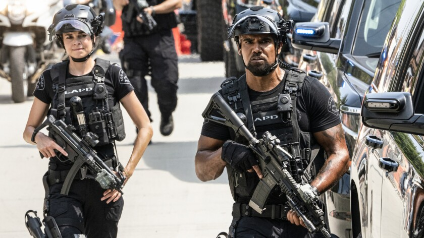 "Lina Esco and Shemar Moore in ""S.W.A.T."" on CBS."