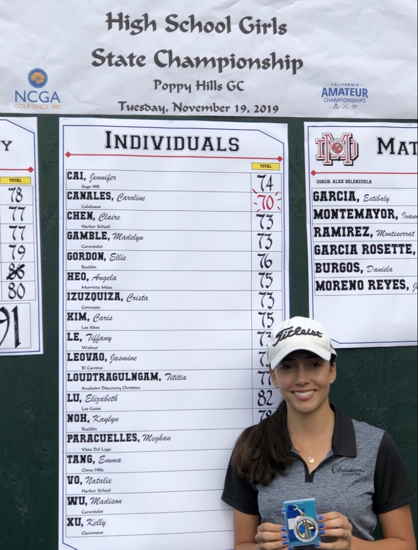 Caroline Canales of Calabasas won the CIF state girls' golf championship on Tuesday at Poppy Hills.