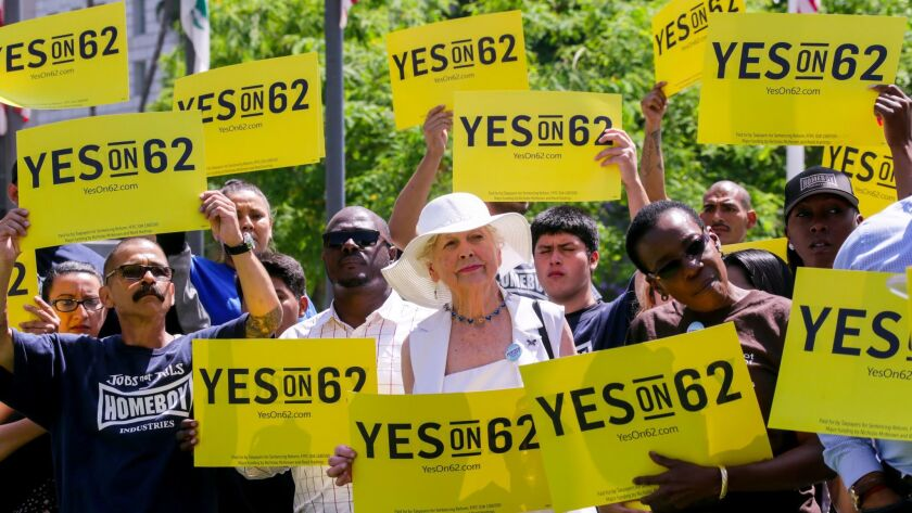 Supporters rally last summer in Los Angeles for Proposition 62, an unsuccessful 2016 ballot measure to eliminate California's death penalty.