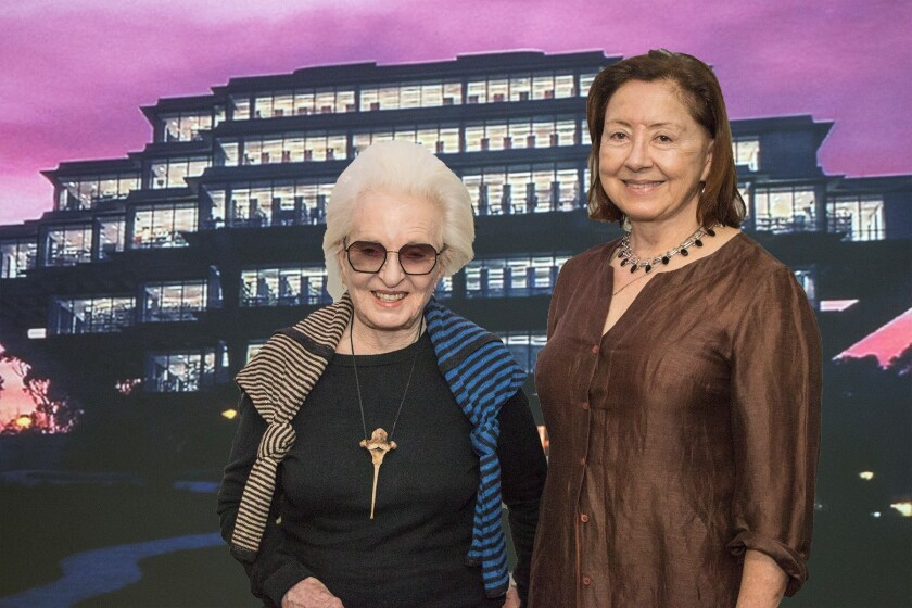 Joyce Cutler-Shaw with filmmaker Becky Cohen at the screening of 'She is Fierce' at UCSD's Geisel Library.
