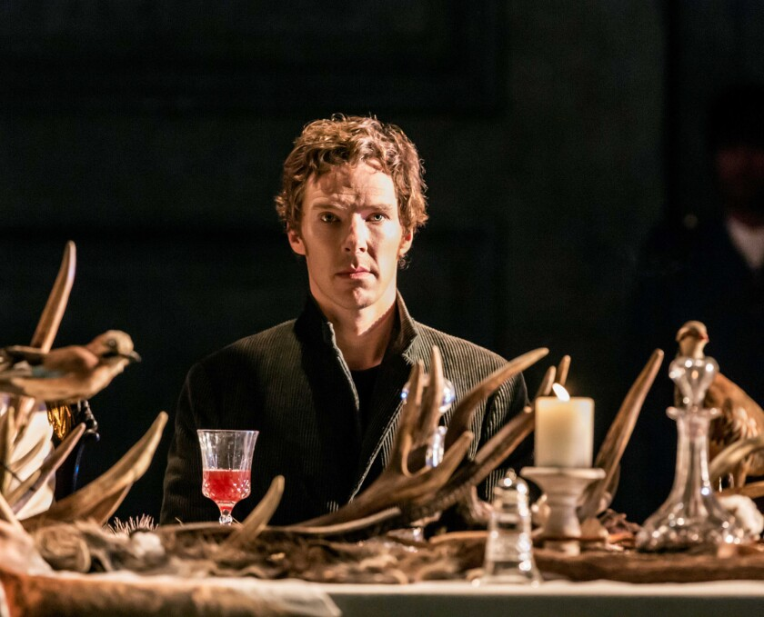"Benedict Cumberbatch performs ""Hamlet"" at the Barbican Theatre in London."