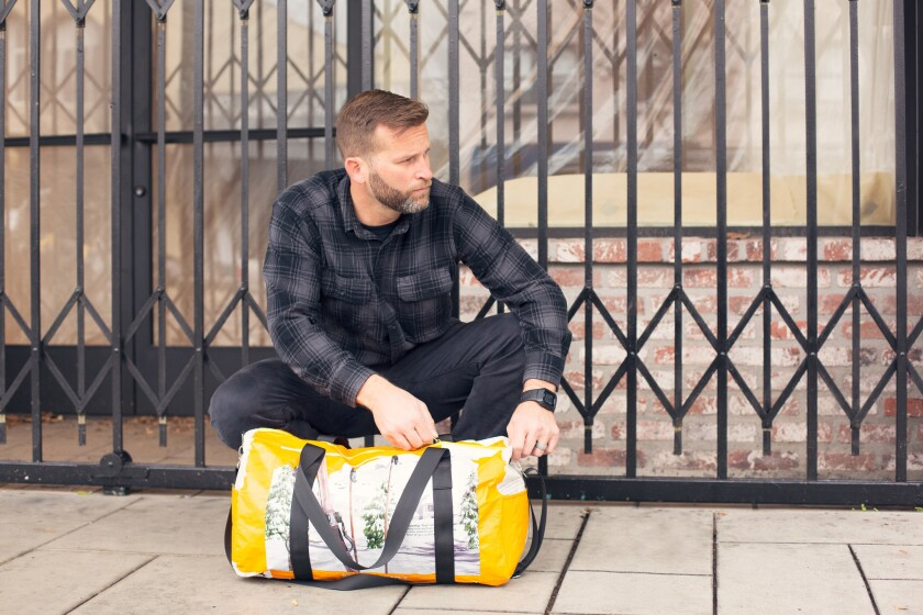 The BountifulTravel Buddy uses upcycled malt bags used by breweries.