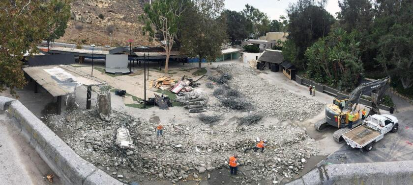 Crews work on a $10-million renovation project at the Festival of Arts grounds in Laguna Beach.
