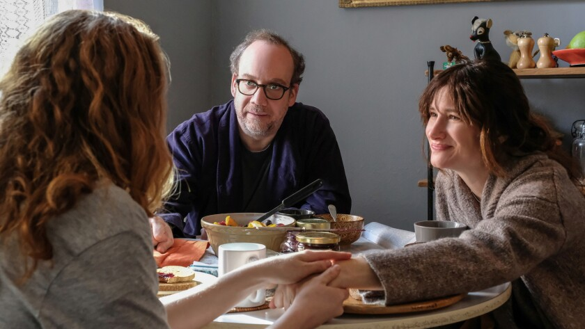 "Paul Giamatti and Kathryn Hahn in a scene from the movie ""Private Life."" Credit: Jojo Whilden / Netf"