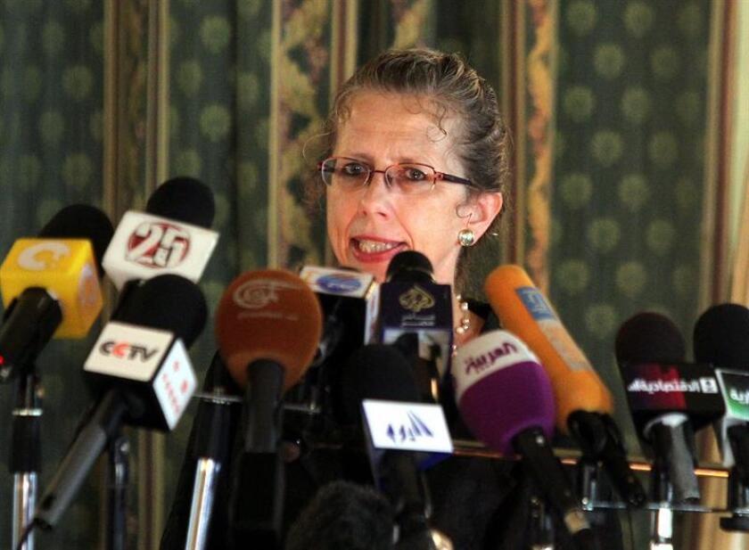 La danesa Inger Andersen habla el 14 de agosto de 2012 cuando fungía como vicepresidente del Banco Mundial para el Medio Oriente y la región del norte de África. EFE/Archivo