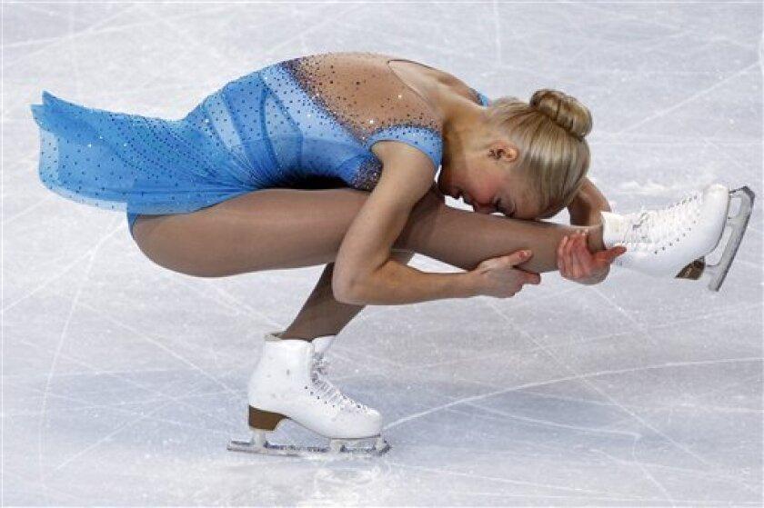 Kiira Korpi of Finland performs her Ladies Short program during the Ice Skating Bompard Trophy at Bercy arena in Paris, Friday, Nov. 26, 2010. (AP Photo/ Francois Mori)