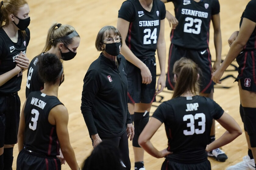 Stanford coach Tara VanDerveer speaks with players during the second half of an NCAA college basketball game against UNLV, Saturday, Dec. 5, 2020, in Las Vegas. (AP Photo/John Locher)