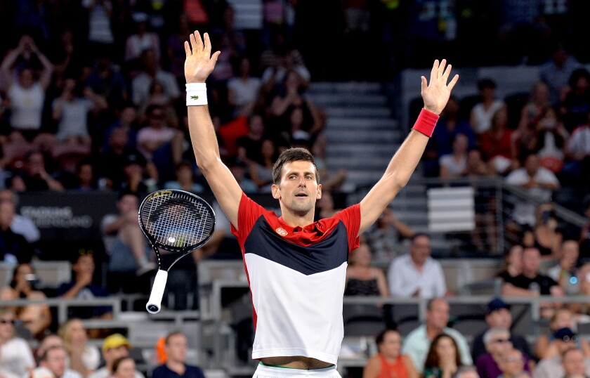 Novak Djokovic of Serbia celebrates a victory over Kevin Anderson of South Africa at the 2020 ATP Cup Group Stage on Jan. 4 in Brisbane, Australia.