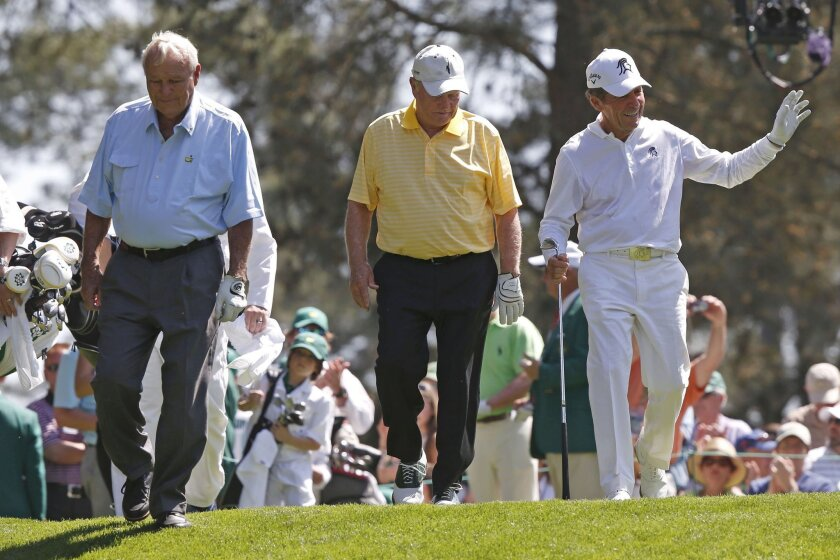 Arnold Palmer, Jack Nicklaus and Gary Player help fuel their fans' memories as they participate in the buildup to this week's Masters.