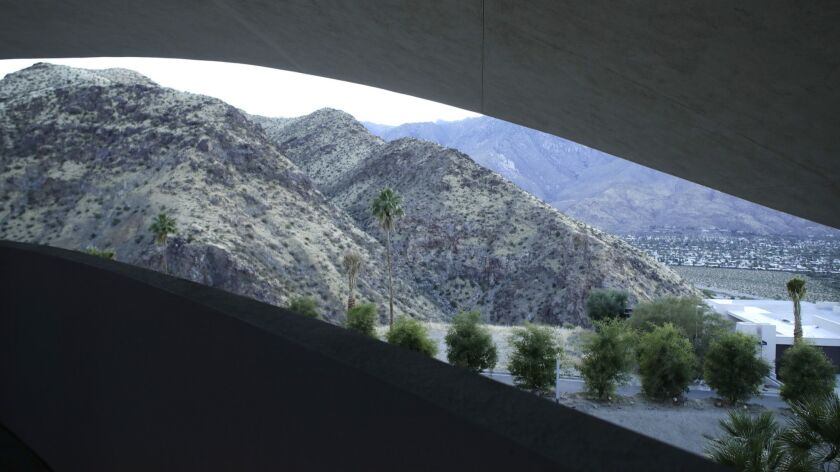 PALM SPRINGS, CA -- APRIL 30, 2019: The view from a guest room at the Bob Hope house in Palm Springs
