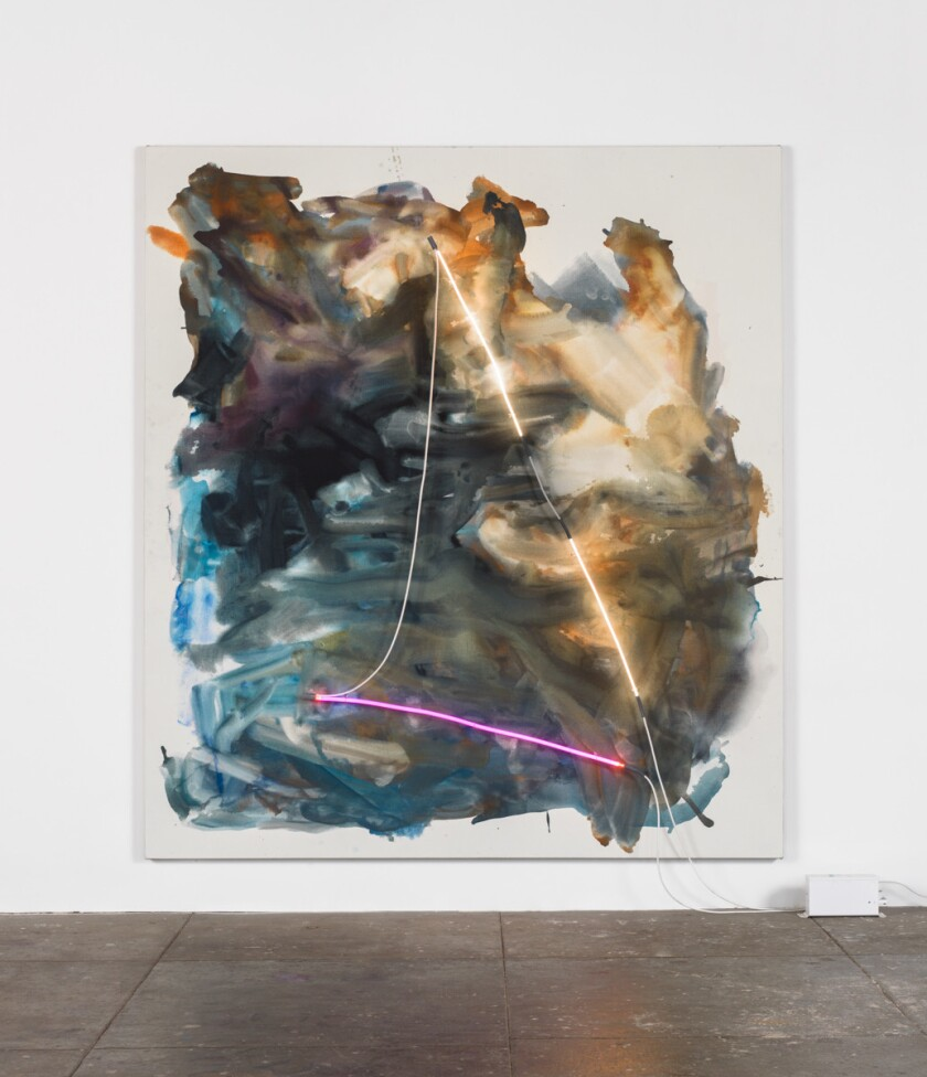 "Mary Weatherford, ""Oxnard Ventura,"" 2014; Flashe and neon on linen."