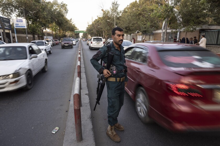 Kabul police secure the roads with police checkpoints on August 13, 2021 in Kabul, Afghanistan.