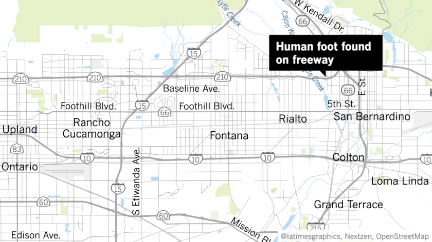 Map shows approximate location where human foot was found next to 210 Freeway