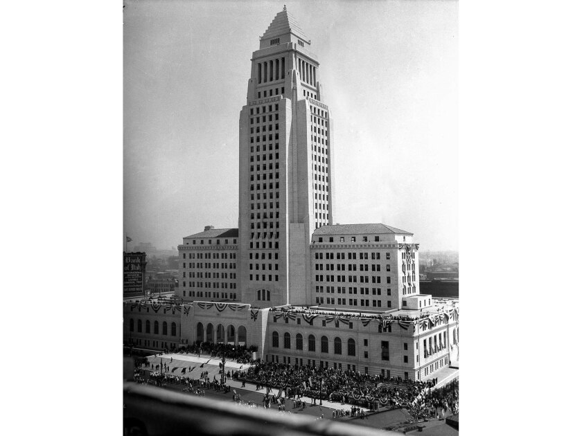 April 26, 1928: Parade on Spring St. during dedication of the new Los Angeles City Hall. A similar i