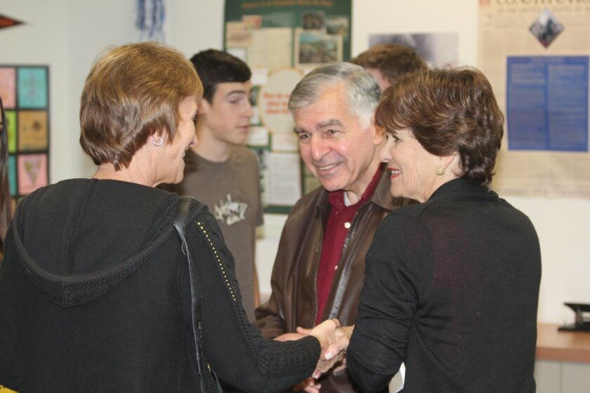 Forme presidential nominee Michael Dukakis, and his wife Kitty, meet with La Jolla Country Day students on campus, Jan. 20. Pat Sherman