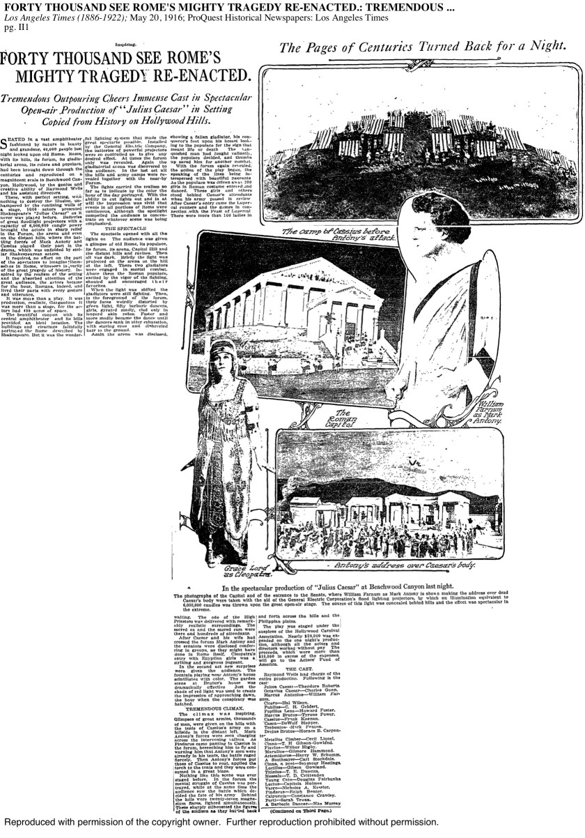 The Los Angeles Times on May 20, 1916, describes the first known performance on the site that would become the Hollywood Bowl.