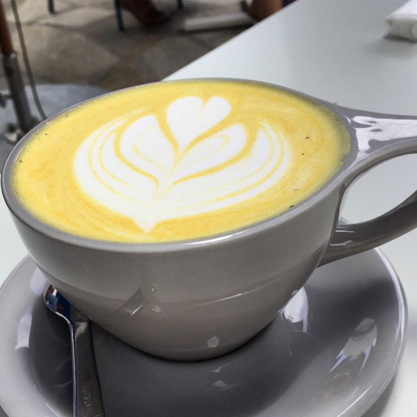 The turmeric latte at Parakeet Cafe is made with turmeric, ginger, vanilla, cardamom, honey and almond milk.