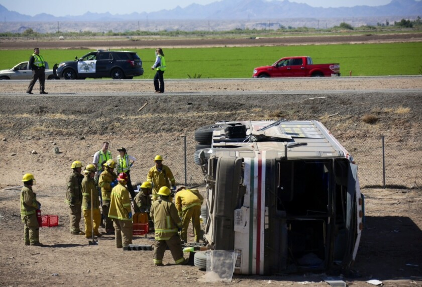 An investigation is underway after four people were killed and dozens others were hospitalized after a charter bus headed west on Interstate 10 in Blythe crashed and overturned early Wednesday.
