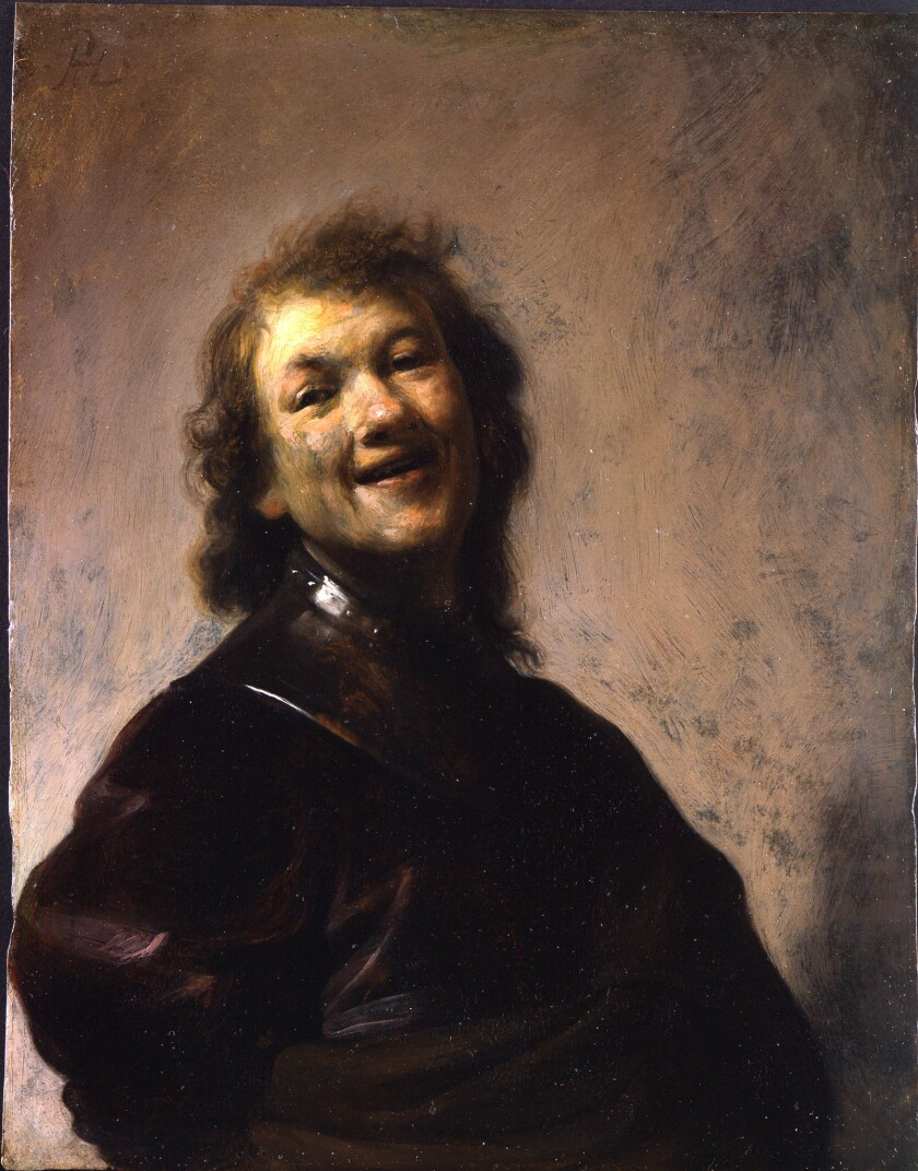 The Getty's newest purchase: 'Rembrandt Laughing' by Rembrandt Harmensz. van Rijn, oil on copper, 8 3/4 x 6 5/8 inches.
