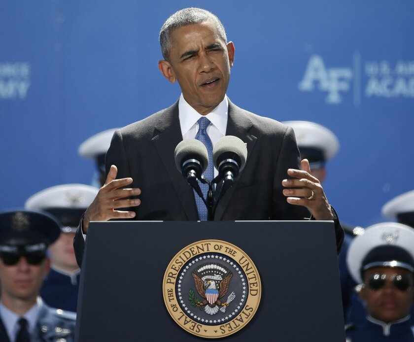 President Barack Obama delivers the commencement address to the Air Force Class of 2016, at the U.S. Air Force Academy, in Colorado Springs, Colo., Thursday, June 2, 2016. (AP Photo/Brennan Linsley)