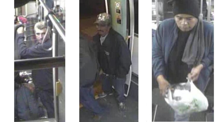 Three men suspected of stabbing a victim on a bus in Highland Park on Monday night.