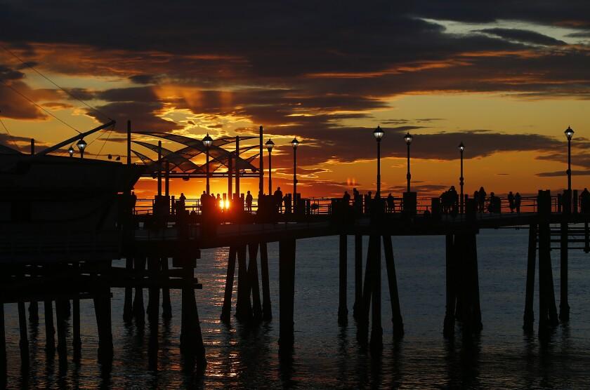 A winter sunset graces the Redondo Beach Pier.