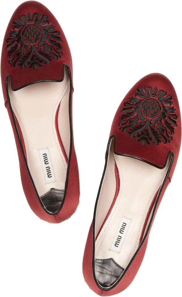 Miu Miu embroidered satin loafer, $650 at Net-a-porter.com.