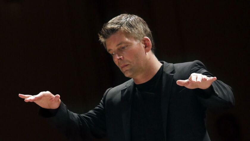 Guest conductor Matthias Pintscher will lead the Los Angeles Philharmonic in works by Elgar and Stravinsky on Tuesday at the Hollywood Bowl.