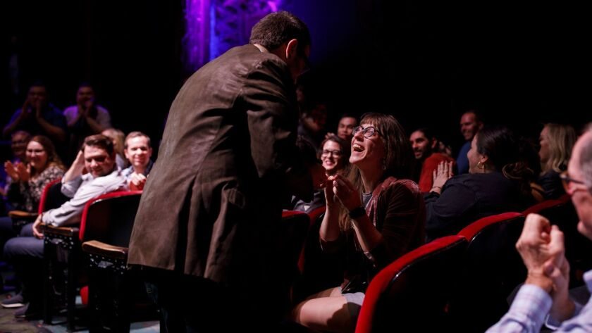 Jake Penzell proposes to Jaimie Szuhay (she said yes) during Schitt's Creek Live at the theatre at t