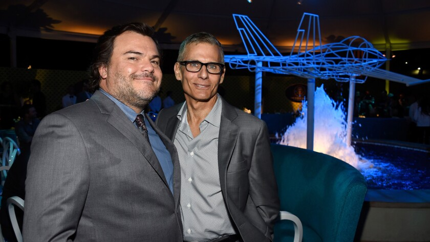 Actor Jack Black, left, with HBO President of programming Michael Lombardo.