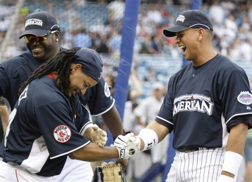 Boston Red Sox's David Ortiz, left rear, and Manny Ramirez, left front, laugh with New York Yankees' Alex Rodriguez during batting practice at the Major League Baseball All-Star Home Run Derby at Yankee Stadium in New York on Monday, July 14, 2008. (AP Photo/Kathy Willens)