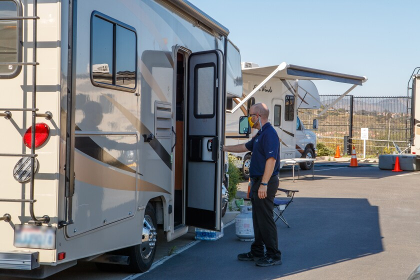 SDG&E grid operations employee living onsite in an RV during the COVID-19 pandemic