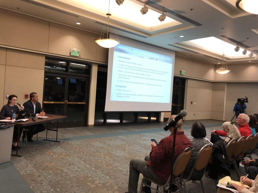 Encinitas city staff hosted a public forum on a proposed Safe Parking program that would give North County residents experiencing homelessness a place to stay in their cars overnight.