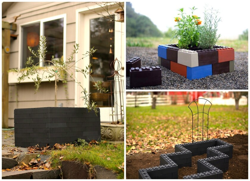 Made of lightweight recycled plastic, the TogetherFarm blocks can create a raised bed planter in minutes.