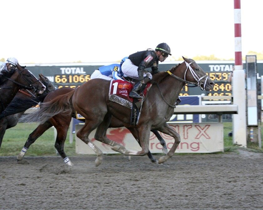 Math Wizard with Irad Ortiz, Jr. riding wins the $1,000,000 Pennsylvania Derby.