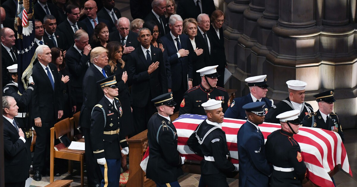 Commentary At The Bush Funeral Respect And Human Emotion Trump Politics Los Angeles Times